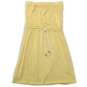 GAP Tube Dress Yellow White Stripes Tie Front S
